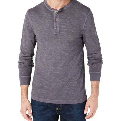 Club Room Men's Garment Dyed Henley Grey - VendaStores