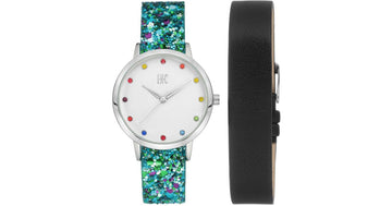 I.N.C. Women's Glitter Faux Leather Strap Watch 36mm with Interchangeable Strap Gift Set