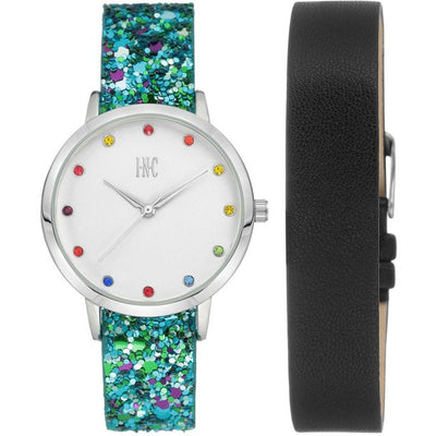 I.N.C. Women's Glitter Faux Leather Strap Watch 36mm with Interchangeable Strap Gift Set - VendaStores