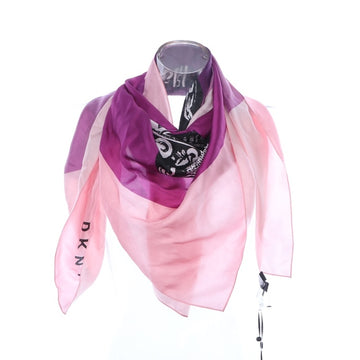 DKNY Logo-Print Silk Scarf Purple ONE SIZE