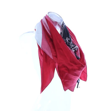 DKNY Logo-Print Silk Scarf Red ONE SIZE