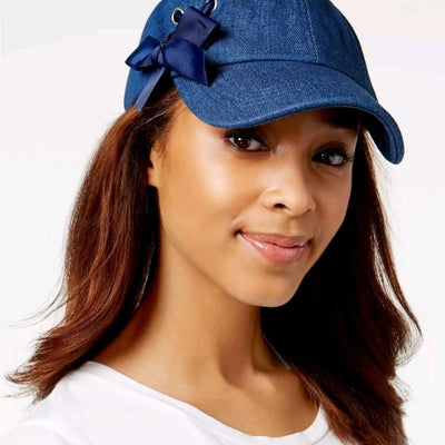 Steve Madden Tongue-Tied Baseball Cap Denim One Size - VendaStores