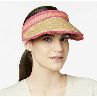 August Hats Colorblocked Frayed Visor NaturalPink ONE SIZE - VendaStores