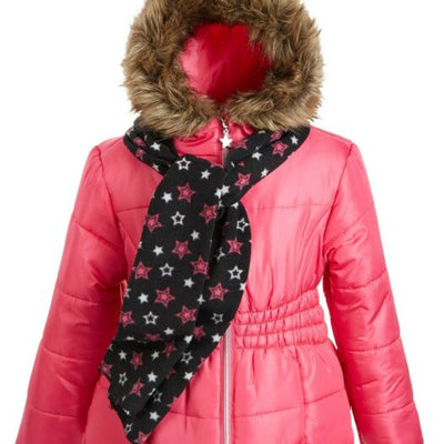 S. Rothschild Big Girls Size LG(14) Slim Dark  Pink Puffer Coat & Scarf, MSRP $110 - VendaStores