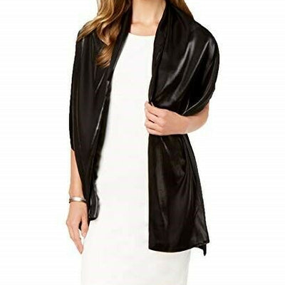 Cejon Shiny Sheen Evening Wrap Black One Size - VendaStores
