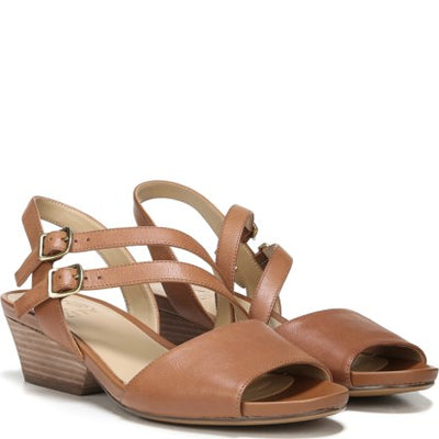 Naturalizer GIGI Light Maple Leather Sandal - VendaStores