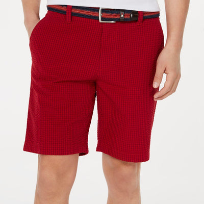 "Tommy Hilfiger Men's As-Is-Red Gingham Jerry 9"" Short - Size 42 - VendaStores"
