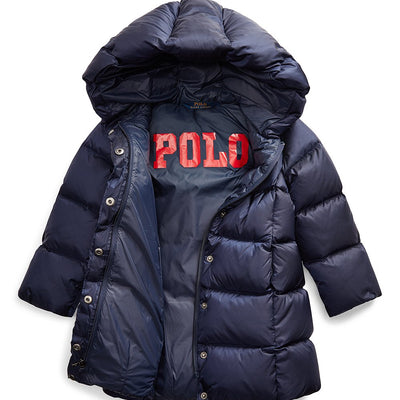 Ralph Lauren Toddler Girls Size 2T Navy Momentum Hooded Nylon Down-Long Puffer Coat MSRP253 - VendaStores