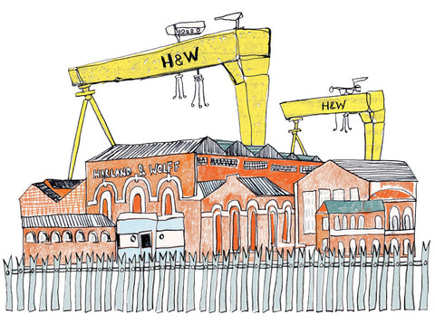 Limited edition Harland and Wolf Cranes Print Flax Fox