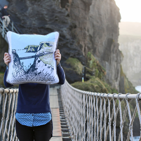 Carrick-a-Rede Rope Bridge Cushion Flax Fox
