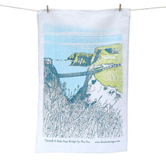 Carrick-A-Rede Rope Bridge Screen Printed Artist Tea Towel