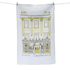 Crown Bar Belfast Screen Printed Artist Tea Towel