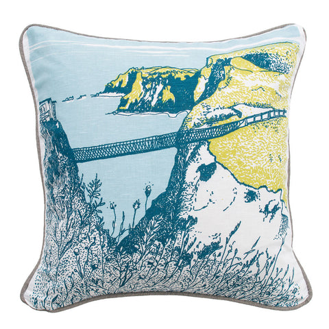 Picture of Carrick-A-Rede Rope Bridge Illustrated Cushion Cover