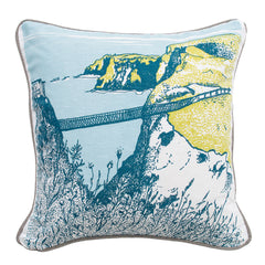 Carrick-A-Rede Rope Bridge Illustrated Cushion Cover
