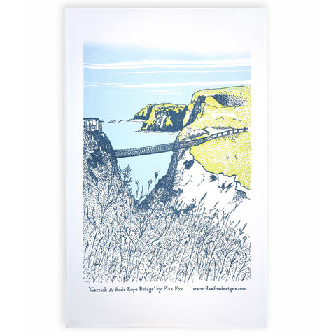 Picture of Carrick-A-Rede Rope Bridge Screen Printed Artist Tea Towel