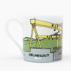 Belfast Cranes Illustrated Mug