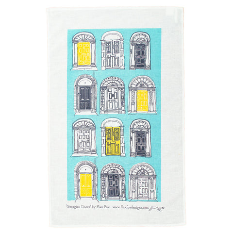 Picture of Georgian Doors Screen Printed Artist Tea Towel in Blue Yellow