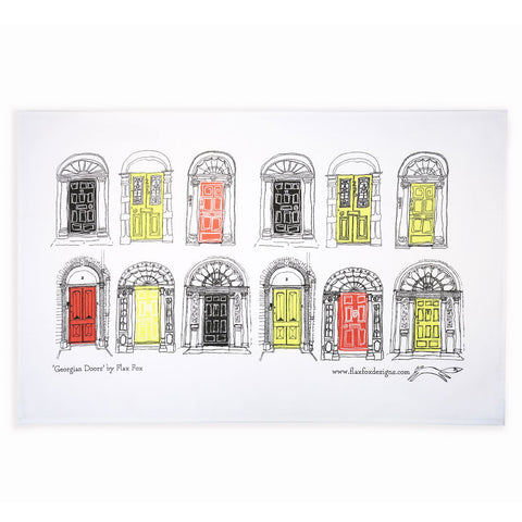 Picture of Georgian Doors Screen Printed Artist Tea Towel in Red Black
