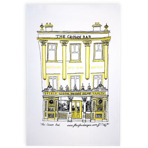 Picture of Crown Bar Belfast Screen Printed Artist Tea Towel