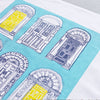 Georgian Doors Screen Printed Artist Tea Towel in Blue Yellow