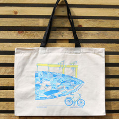 Belfast's Big Blue Fish Cotton Tote Bag