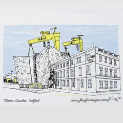 Titanic Quarter Belfast Screen Printed Artist Tea Towel