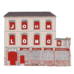 John Longs Fish & Chip Shop Artist Postcard