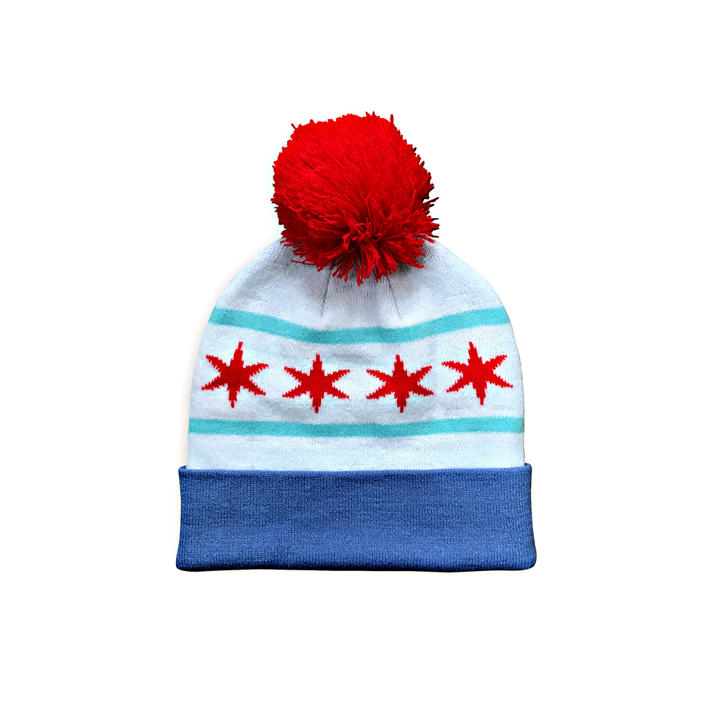 Chicago Flag Pom Beanie – Chitown Clothing d335d9214fc