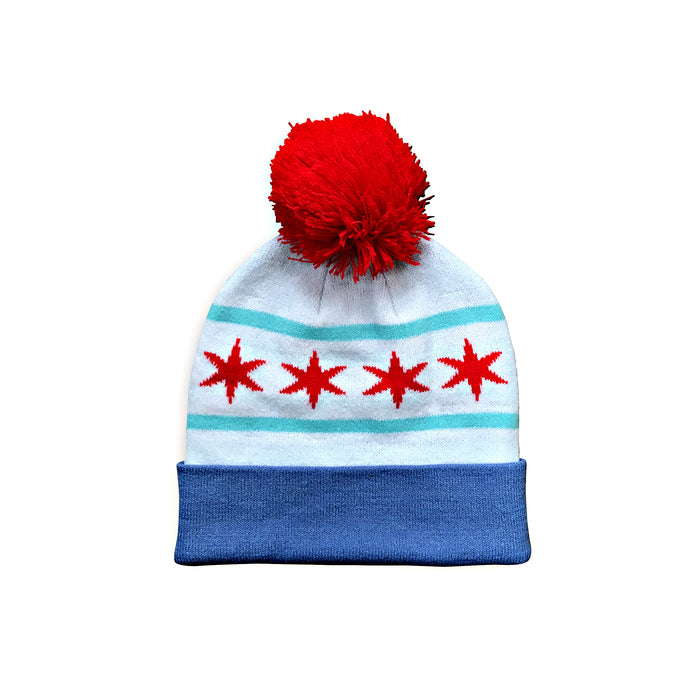 Chicago Flag Pom Beanie