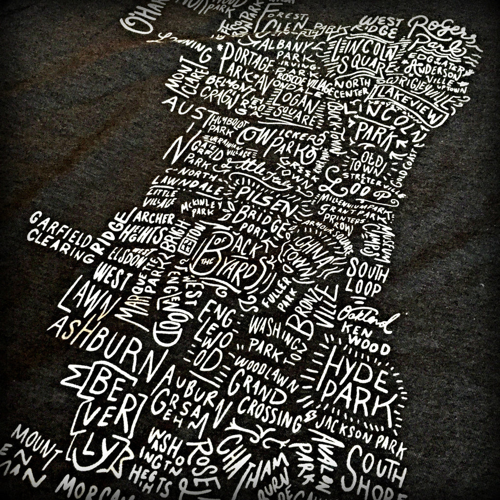 Chicago Neighborhoods Map Tee
