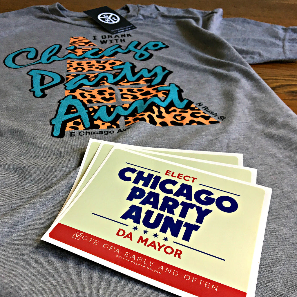 Chicago Party Aunt Sticker And T-Shirt