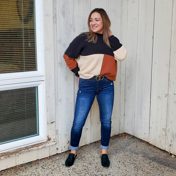Black & Tan Colorblock Sweater