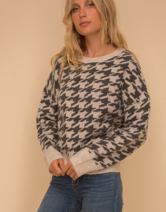 Houndstooth Jacquardd Sweater