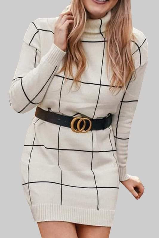 Windowpane Turtleneck Sweater Dress