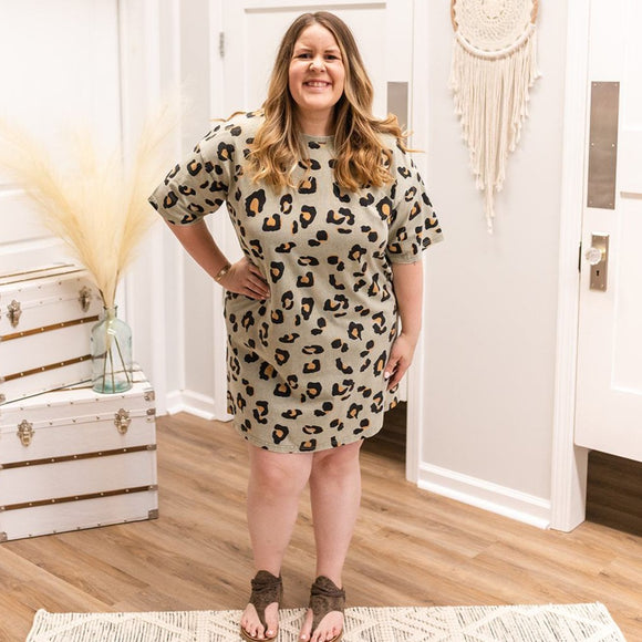 Washed Leopard Dress Curvy