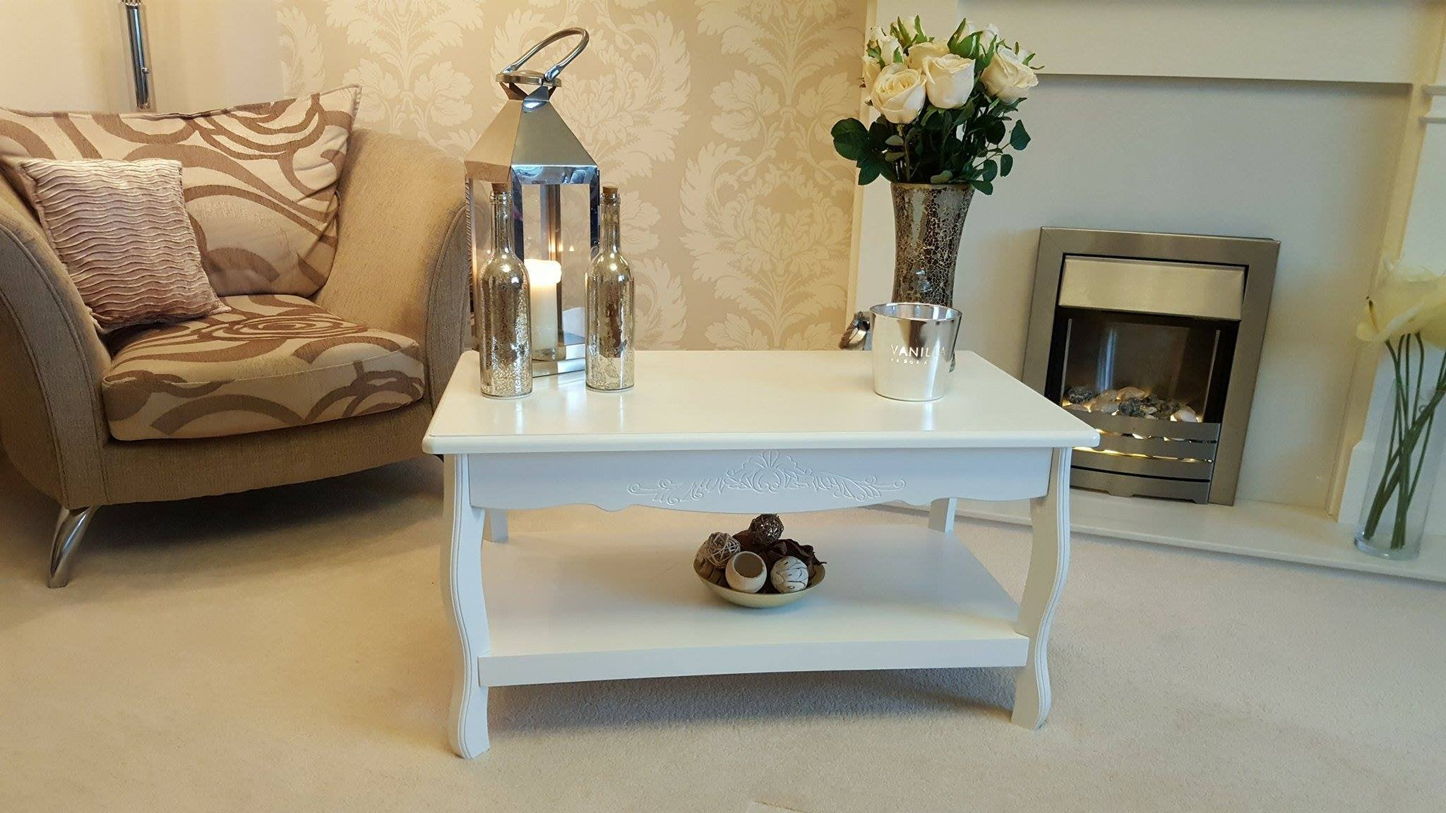 Vintage White French Style Coffee Table Side Table Living Room End