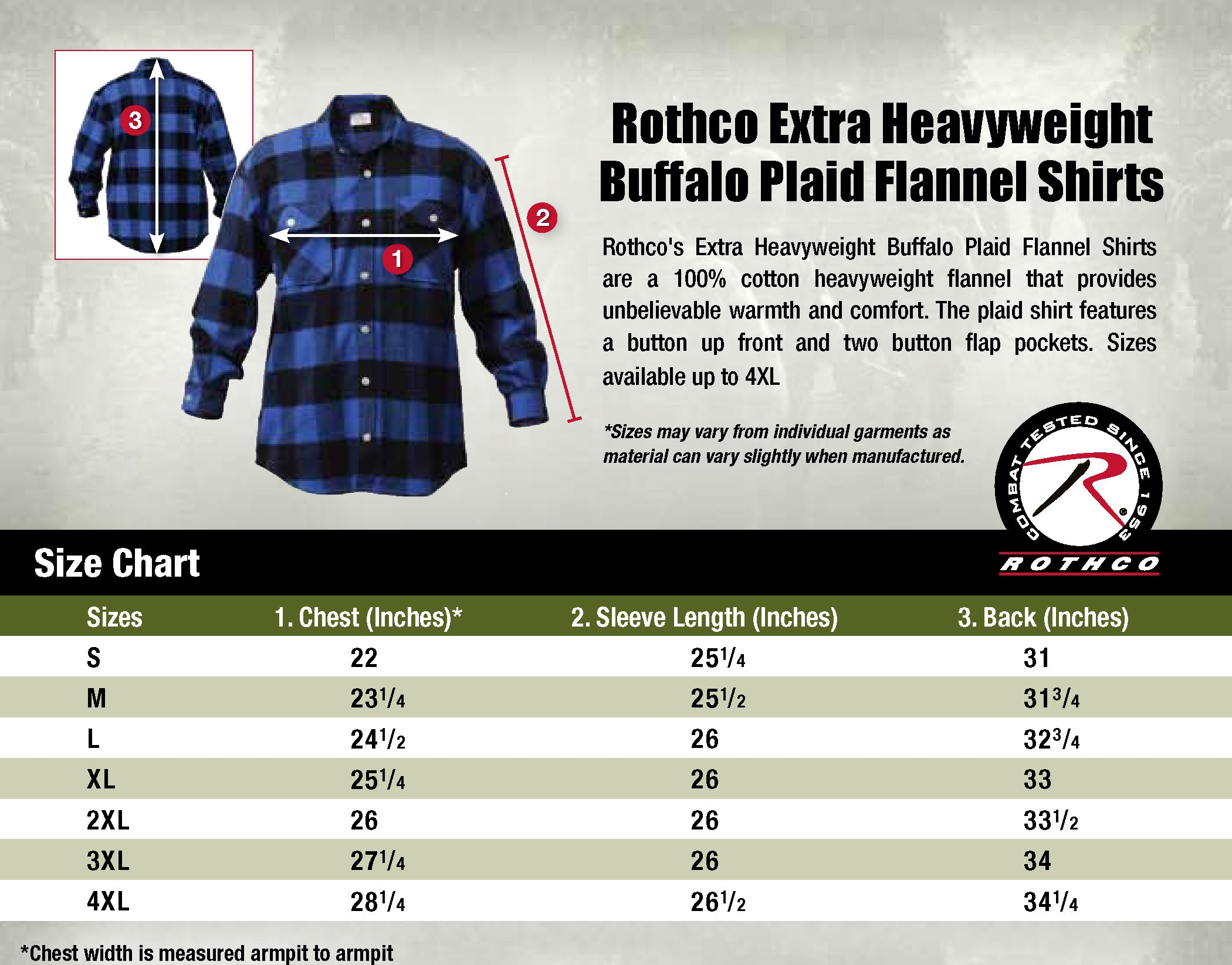 Flannel size chart surplus nation
