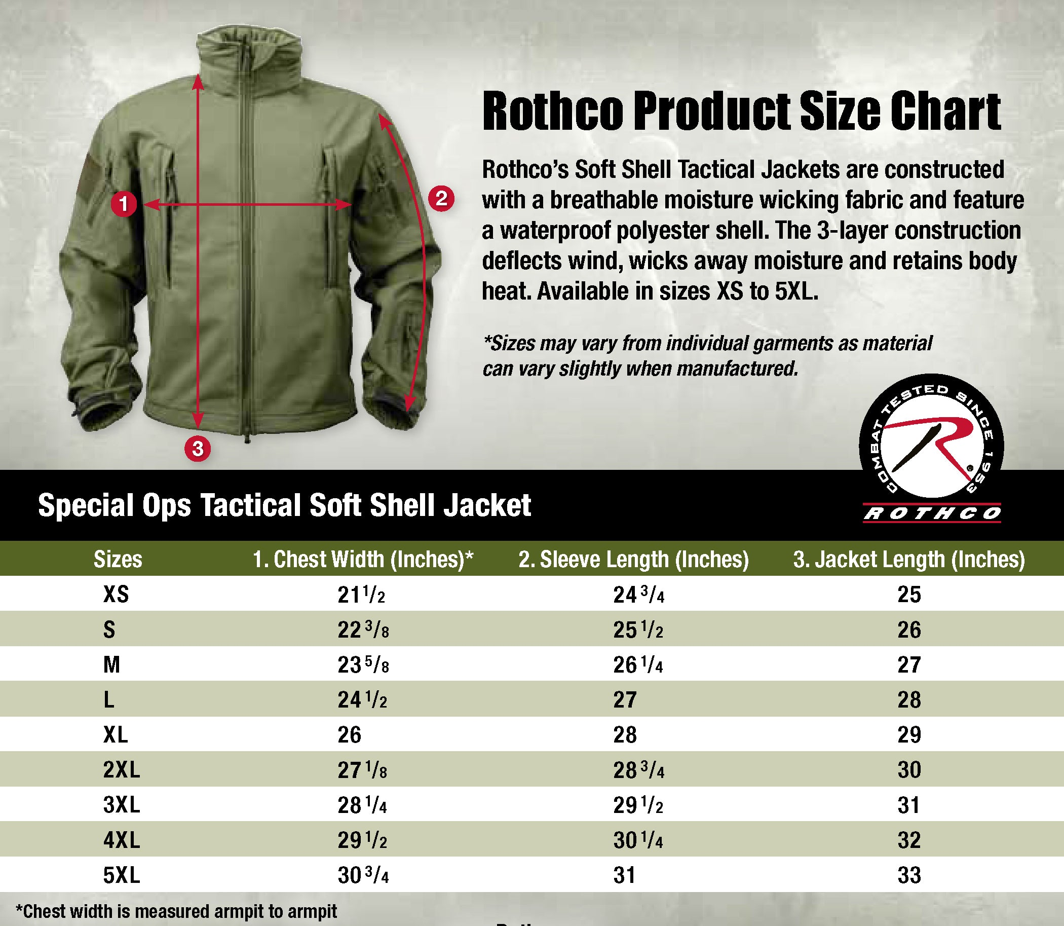 soft shell jacket rothco size chart