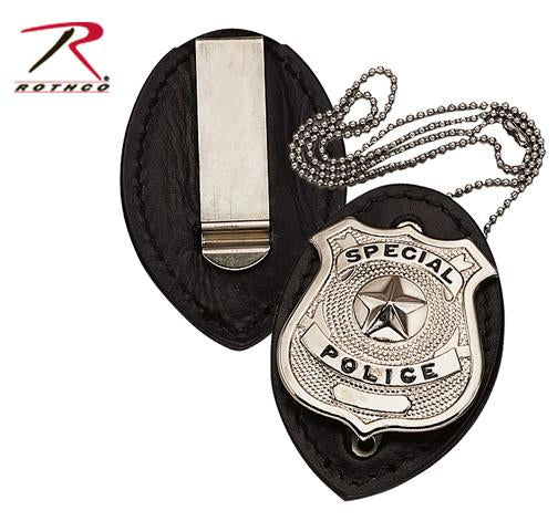 1131 Rothco Leather Clip-on Badge Holder