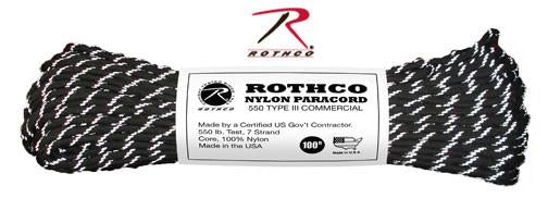 136 Rothco Nylon Paracord 550lb 100 Ft / Black With Reflective Tracers
