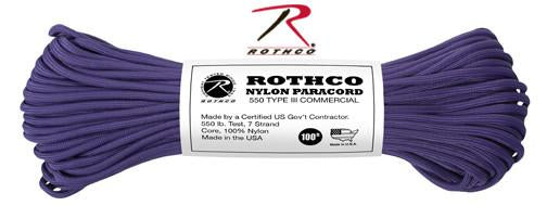 149 Rothco Nylon Paracord 550lb 100 Ft / Purple