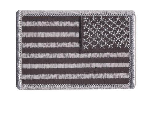"16666 Rothco Reverse Us Flag Patch - Black/silver / 2"" X 3"""