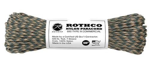 180 Rothco Nylon Woodland Camo Paracord 100 Foot