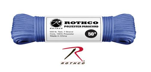 30708 Rothco Royal Blue 50' Rothco Polyester 550 lb Test Commercial Paracord
