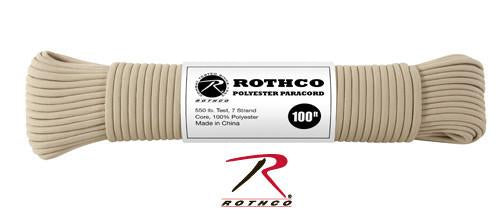 30801 Rothco Polyester Paracord - 100 Ft / Tan