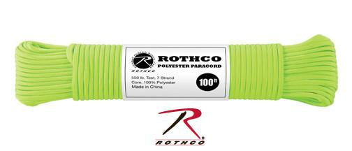 30802 Rothco Safety Green 100' Polyester 550 lb Test Commercial Paracord