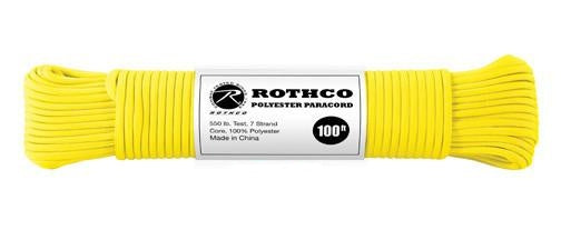 30804 Rothco Polyester Paracord-100 Ft / Safety Yellow