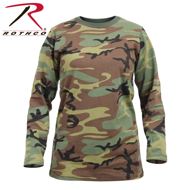 3678 Rothco Womens Long Sleeve Camo T-Shirt - Woodland Camo