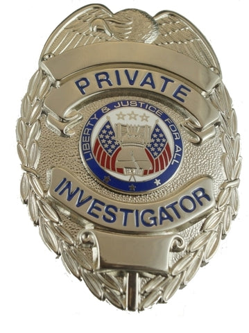 Hero's Pride PRIVATE INVESTIGATOR BADGE, ENAMELED & PLATED, DURABLE 5-PC PIN & CATCH
