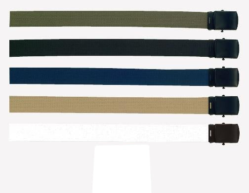 4296 MILITARY COLOR WEB BELTS W/BLACK BUCKLE